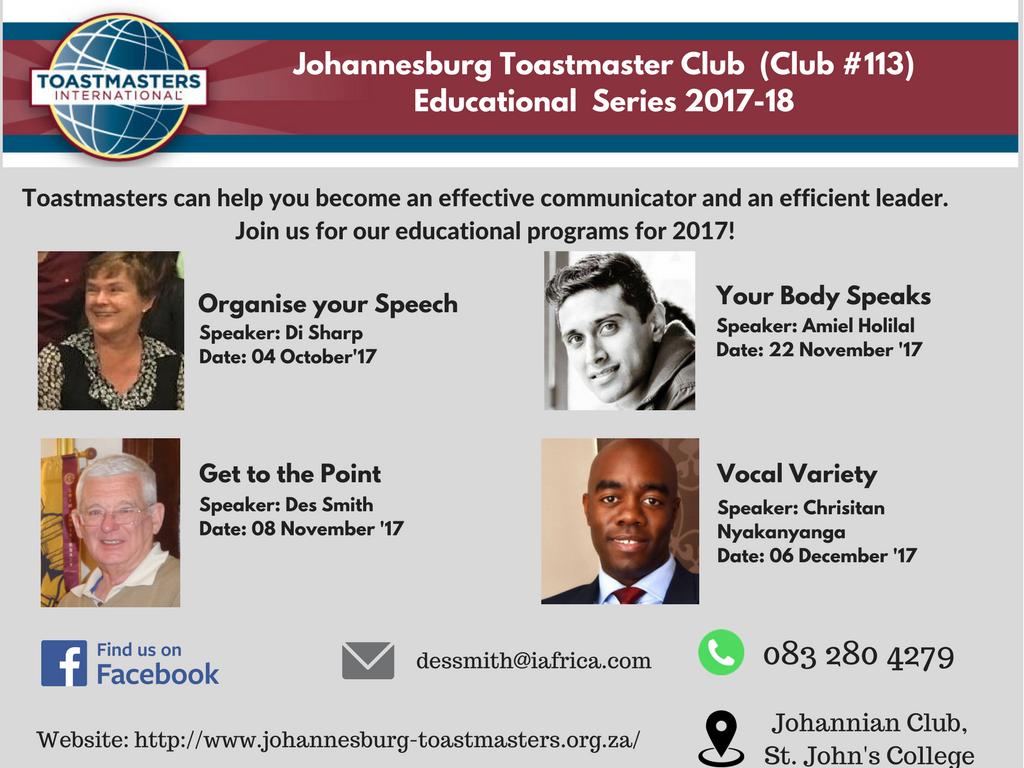 Johannesburg Toastmaster Club (Club #113) Educational Series 2017-18