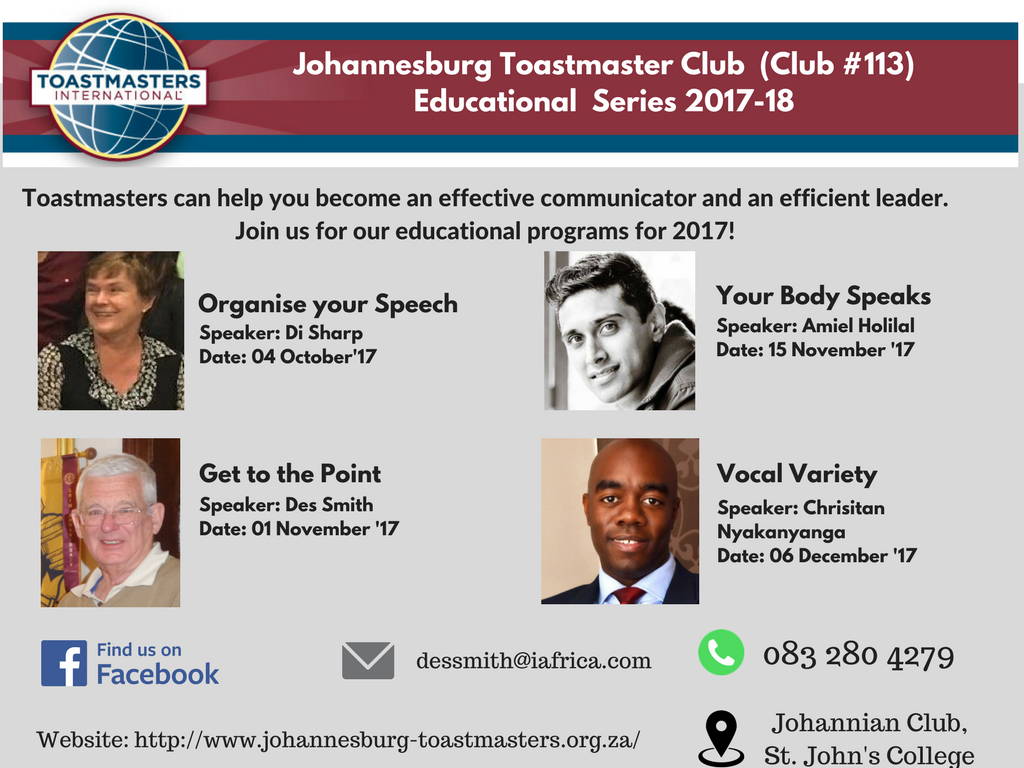 Johannesburg Toastmaster Club (Club #113) Educational Series 2017-18(1)